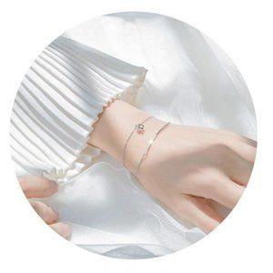 Jewelry - NEW 925 Sterling Silver Diamond Cube Bar Bracelet